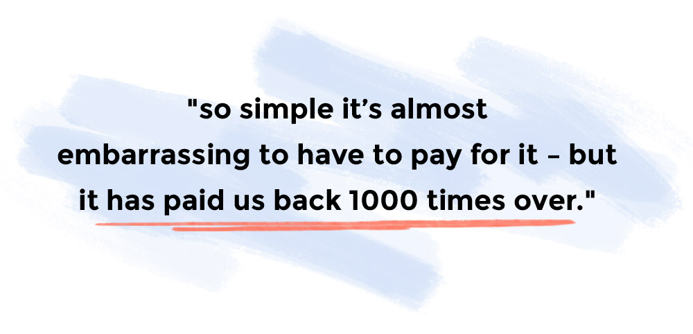 So simple it's almost embarrassing to have to pay for it – but it has paid us back 1000 times over.