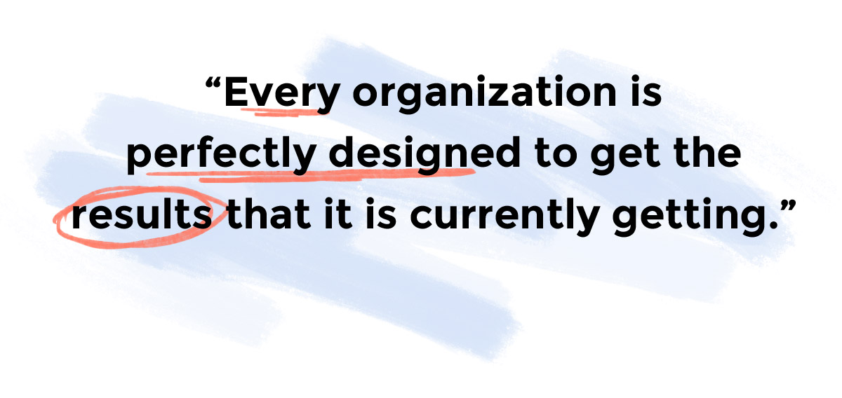 Every Organization is perfectly designed to get the results that it is currently getting.